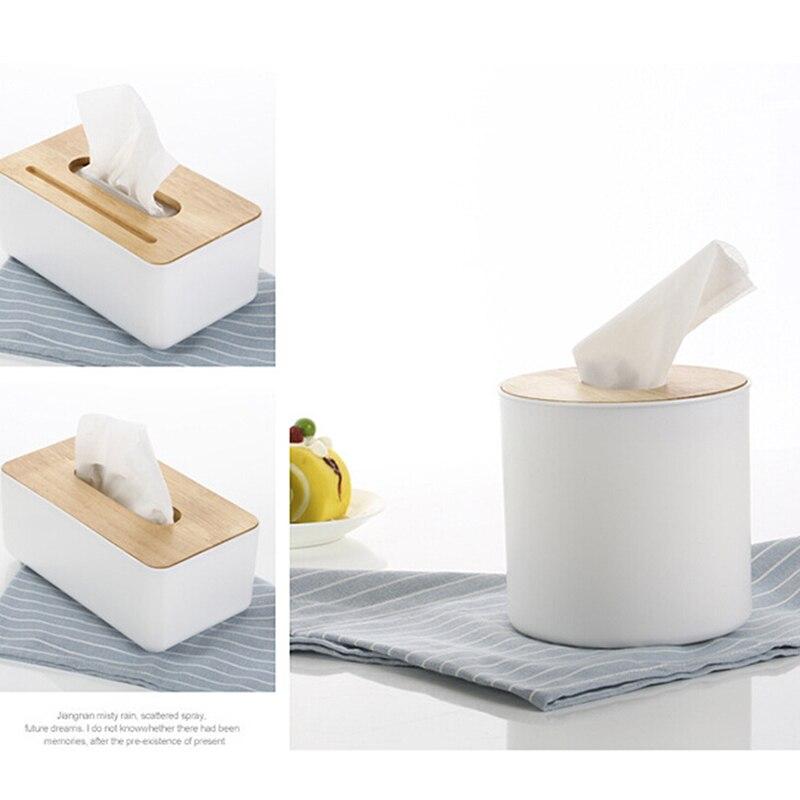Wooden Tissue Box Cellphone Holder Napkin Case Dispenser Cover Paper Organizer..
