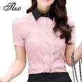 Estilo coreano Mulheres Moda Slim Camisas Plus Size S-2XL Patchwork Projeto Turn-down Collar Mulher Casual Chiffon Blusas