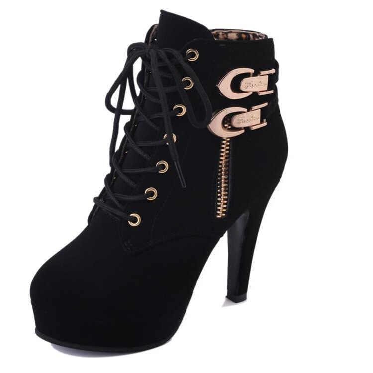 Yeni moda siyah andred Sonbahar Kış Kadın Çizmeler Süet Kadın Yan Fermuar Çizmeler Vintage Moda yarım çizmeler