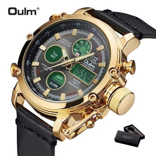 2019 OULM Большие размеры военные Двойные цифровые часы для мужчин календарь будильник многофункциональные водонепроницаемые мужские s часы л...