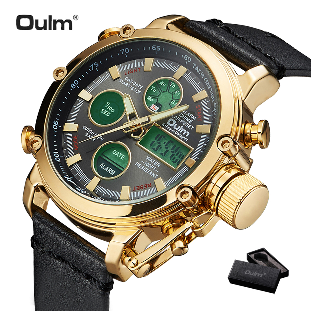 2019 OULM Big Size Military Dual Time Digital Watch Men Calendar Alarm Multifunction Waterproof Mens Watches
