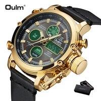 2019 OULM большой размеры Военная Униформа Dual Time Цифровые часы для мужчин календари сигнализации Универсальный водонепроница...