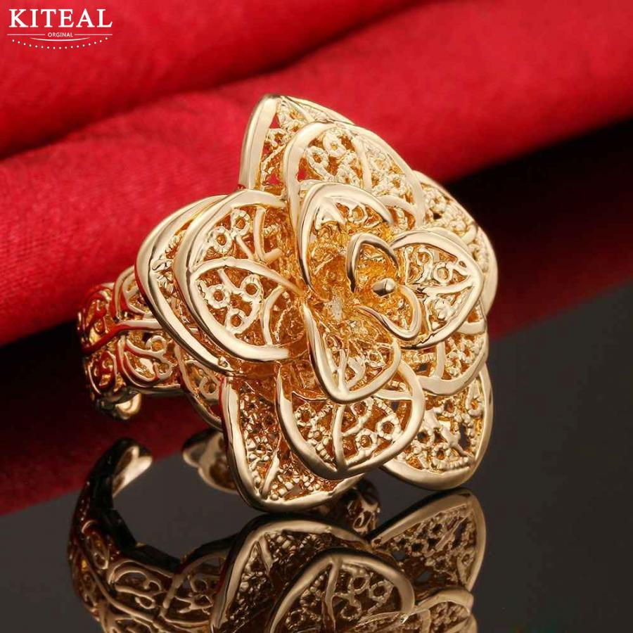 Women's luxurious rose Gold silver Plated Flower Big Rings Girls Elegant Wedding Zircon Engagement Jewelry Party