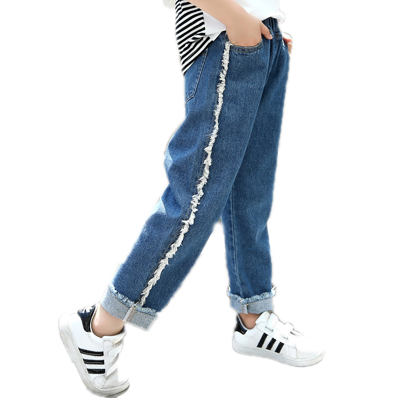 Casual Children's Clothing Girls Jeans For Girl Spring Baby Jeans Wide Leg Denim Girl Kids Pants Loose Children Trousers spring s xl jeans casual loose denim pants 2018 new spring mid waist tassel wide leg jeans pants for women