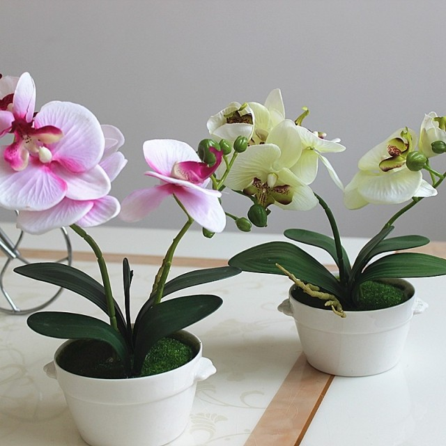 decorative flower pots planters silk artificial flowers orchid in