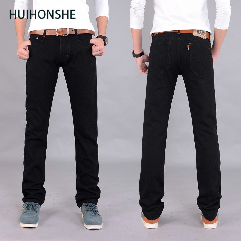 HUIHONSHE Brand Fashion Mens Jeans men Slim fit  Straight Design Black Pants Denim trousers Men's Pant hombre pantalones cargo jeans men s blue slim fit fashion denim pencil pant high quality hole brand youth pop male cotton casual trousers pant gent life