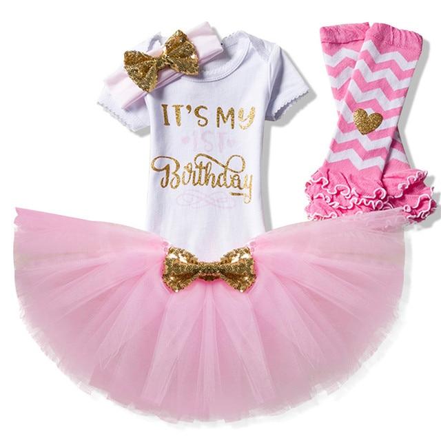 34254ce3def 2018 Cute Baby Girl Clothes 3pcs Clothing Cotton Rompers+Headband+Tutu Dress  Golden Crown Letter Newborn Kids Girl Dresses