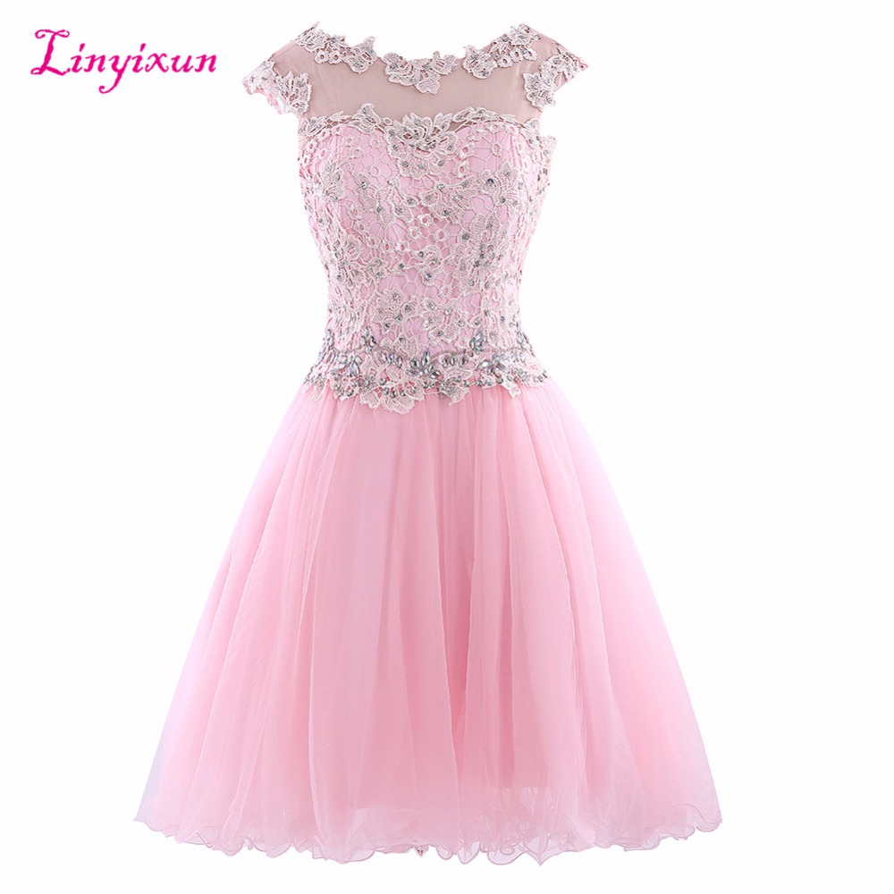 Linyixun Real Photo Exquisite Short   Cocktail     Dresses   Lace vestido de festa Scalloped Neck Cap Sleeves Chiffon Homecoming Gowns