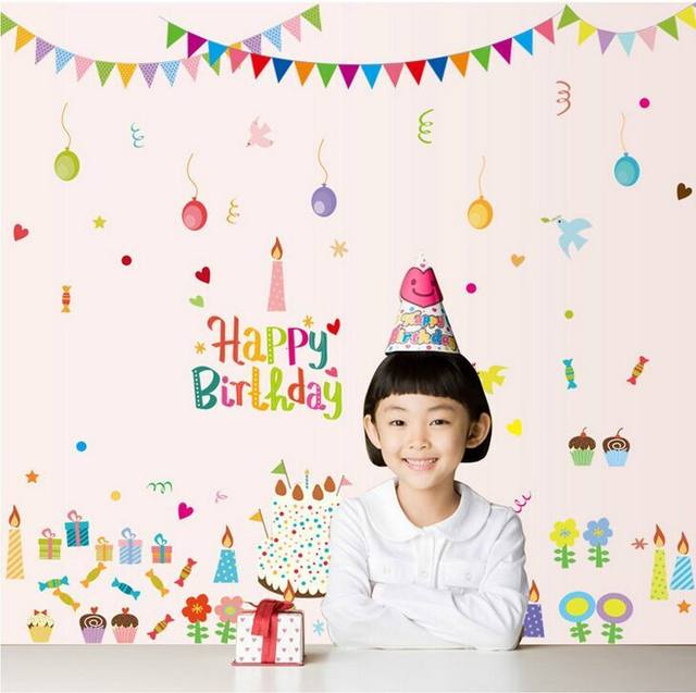 New DIY Cake Birthday Party Balloon Wallpaper Wall Stickers ABQ9705 Living Room TV Sofa Background Decoration