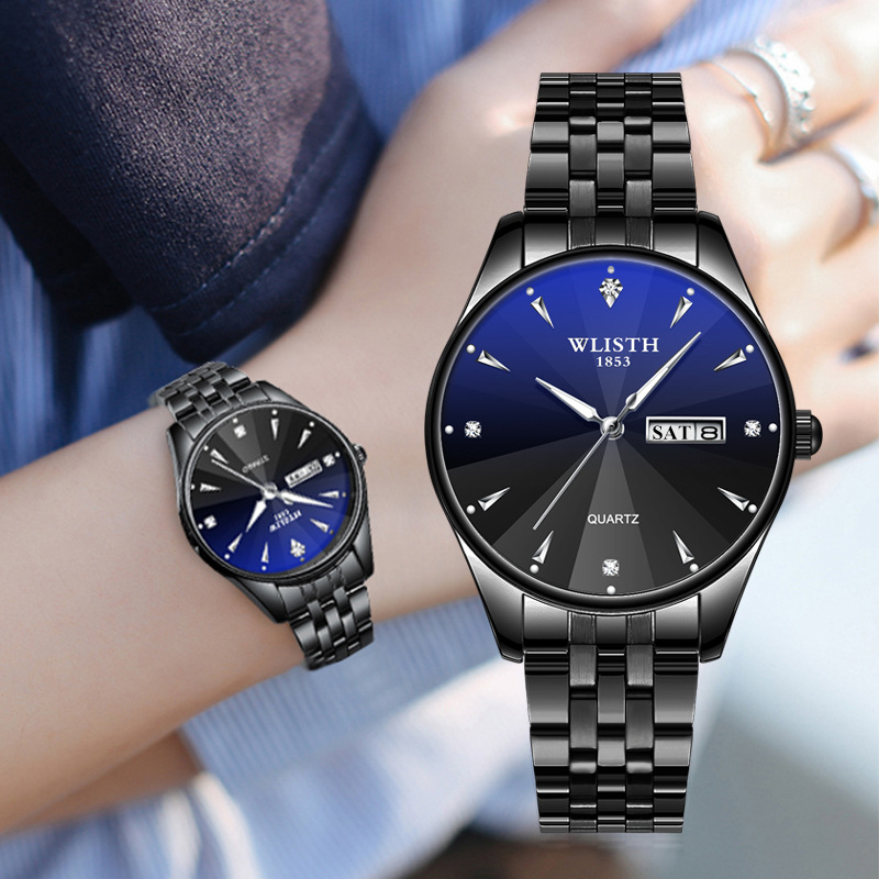 Couple Quartz Wristwatches Steel Waterproof Luminous Clock Date Calender Men Watch Women Watches For Lovers Fashion Quartz-watch
