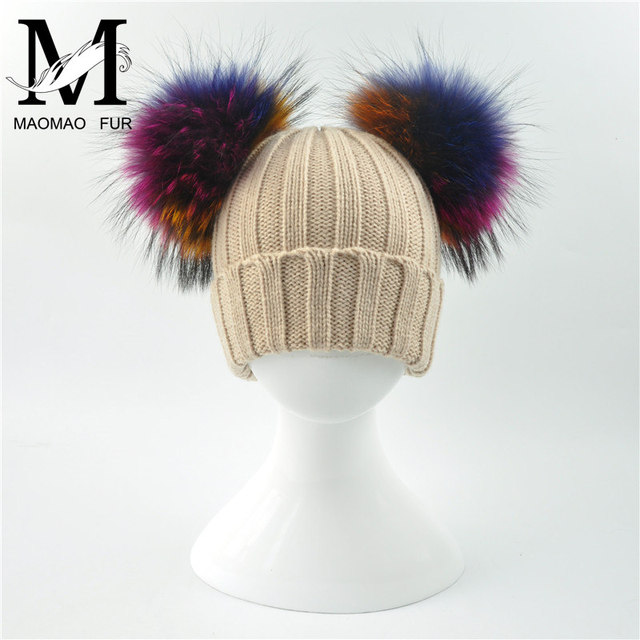 Real Fur Hat Winter Kids Knitted Beanie Real Big Raccoon Fur Pom Pom Cap Baby Warm Thick Stretchy Knit Colorful Fur Pom Hat
