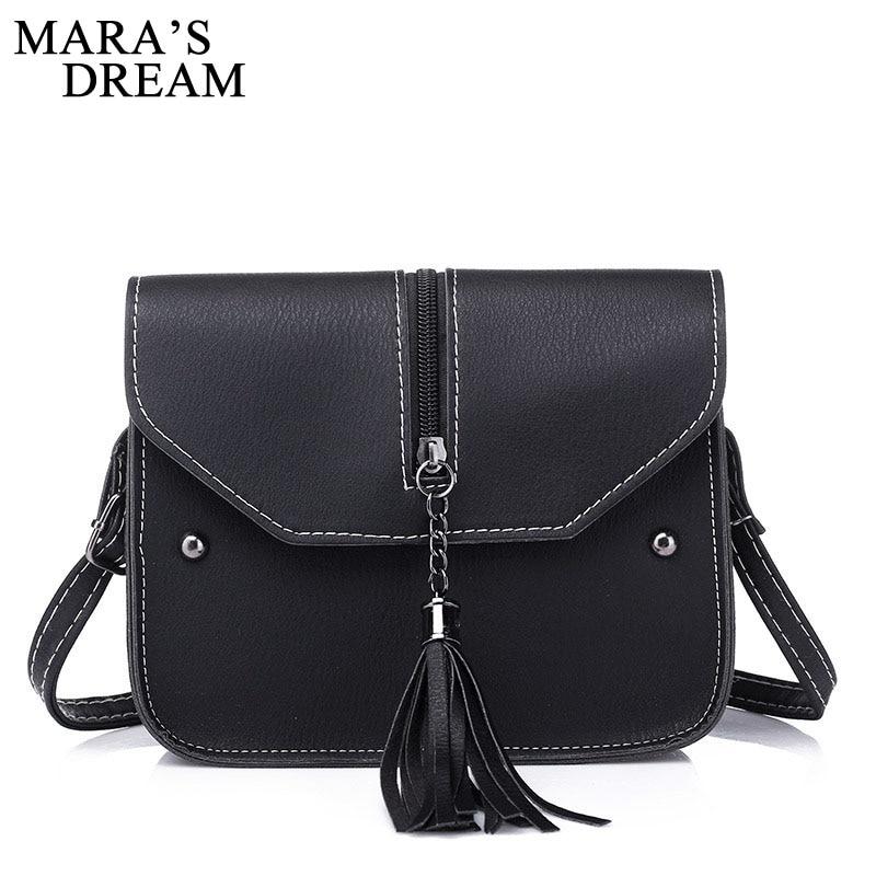 Maras Dream 2018 Fashion Small Tassel Bag Women Messenger Bags Lattice Ladies Crossbody Bag Soft PU Leather Mini Handbag Bolsa