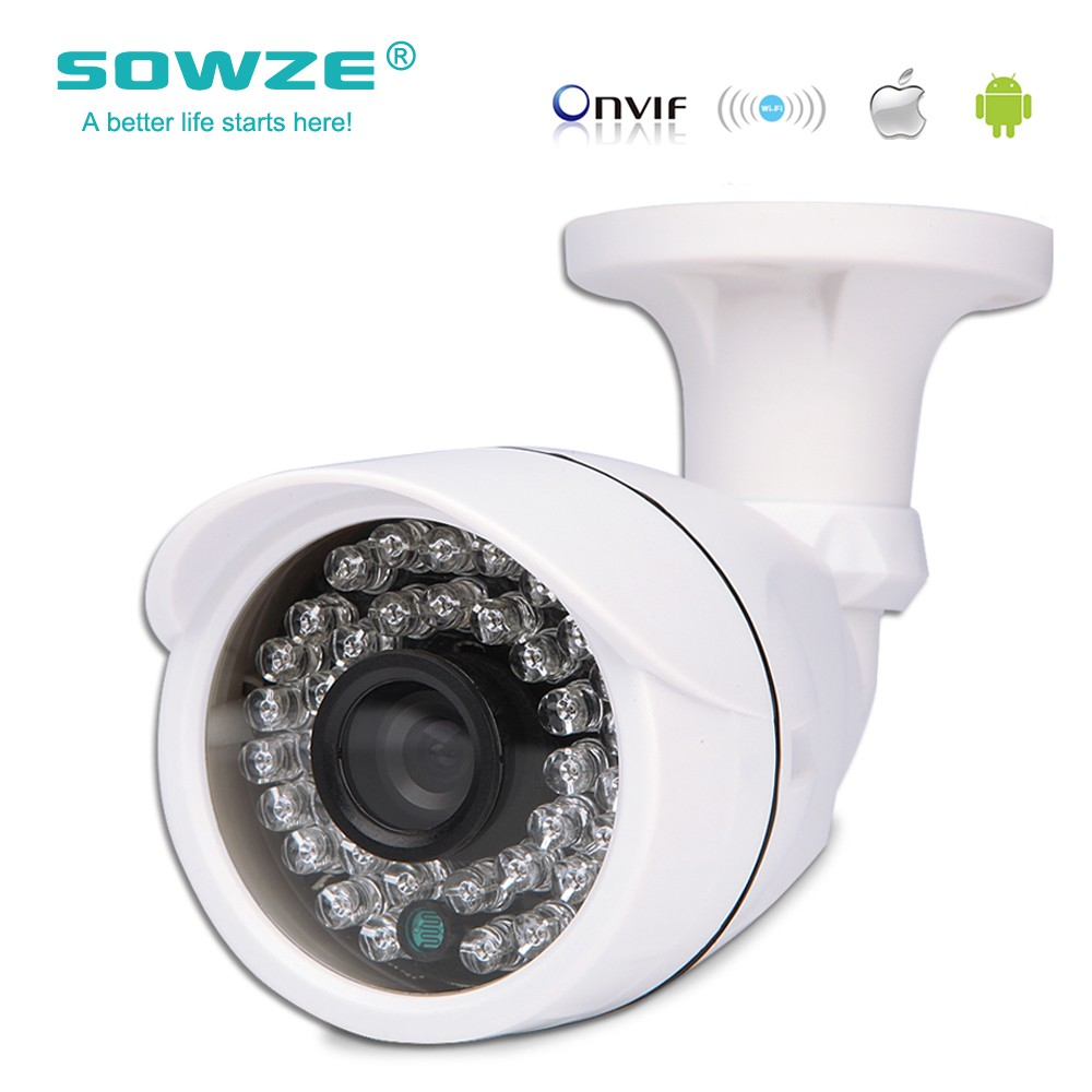 Sowze High Quality Hot sell IP Camera 720P Outdoor Waterproof Bullet Night Version IR 3.6mm Lens P2P ONVIF Housing 1.0MP 4pcs lot 960p indoor night version ir dome camera 4 in1 camera 3 6mm lens p2p onvif abs plastic housing