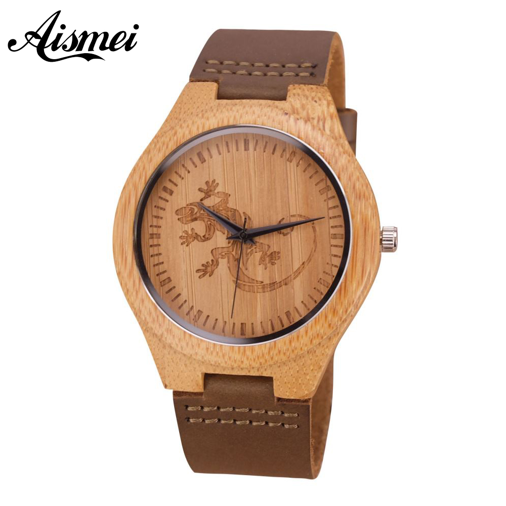 2018 New Top Brand Gecko Design Dial Bamboo Wooden Men Watch Luxulry Genuine Leather band Quartz Male Wood Wrist watches Clock simple minimalism casual men quartz wristwatch number dial genuine leather band cost effective natural wooden design male watch