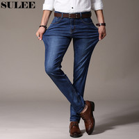 SULEE Brand Jeans Darked Wash Jeans Mens Blue Black Cotton Denim Straight Fit Classic Stylish Casual