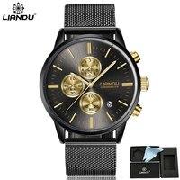 LIANDU Men Water Resistant Chronograph Multifunction Original Brand Quartz Watch Mesh Belt Wristwatch Relogio Masculino