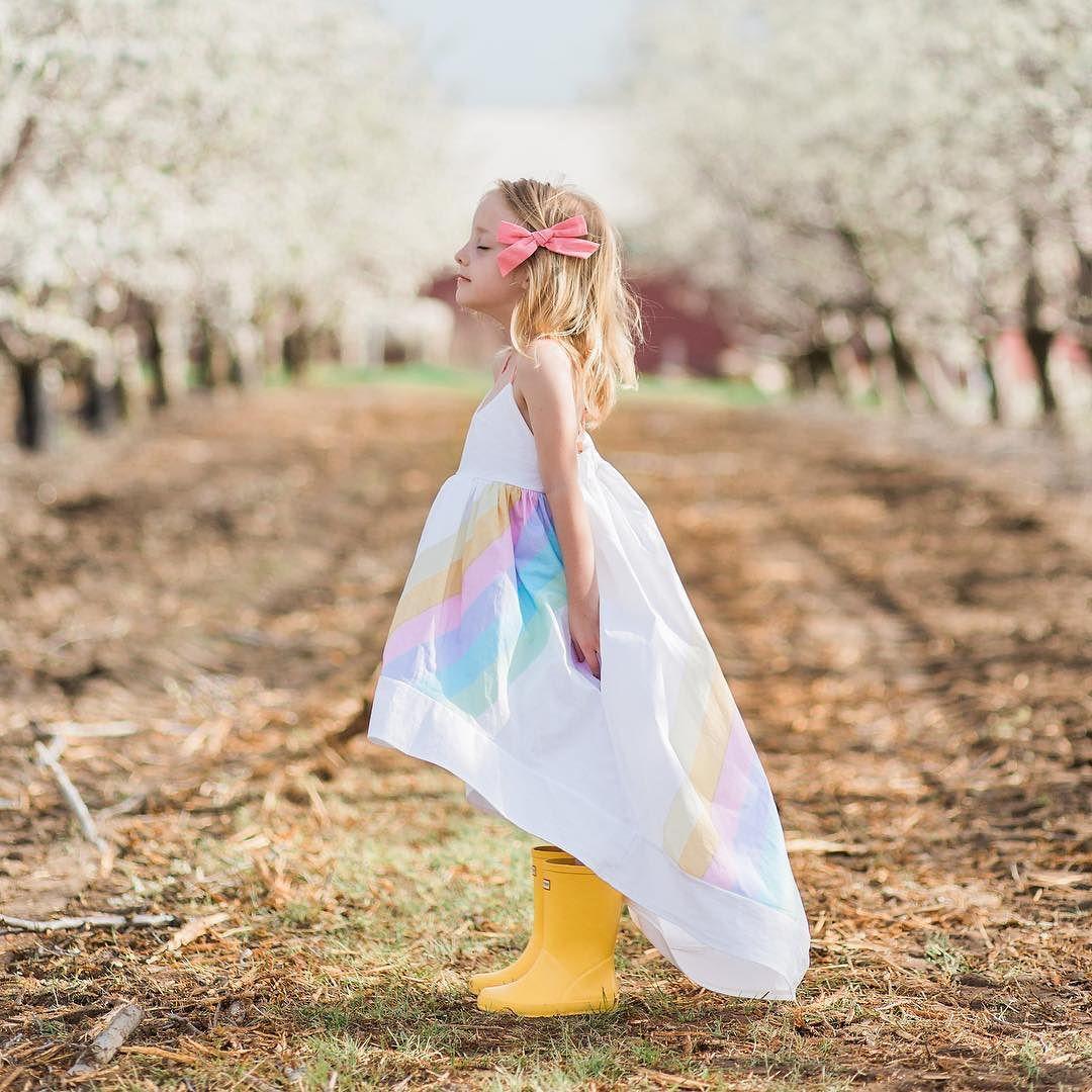 HIBYHOBY Summer Girl Sleeveless Rainbow Wydrukowana sukienka - Ubrania dziecięce - Zdjęcie 3