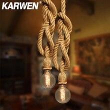 Винтажный подвесной светильник из пеньковой веревки E27 Цоколь 1 м 2 м 3 м современный подвесной светильник в стиле лофт креативный подвесной светильник AC85-265V с двойной одинарной головкой
