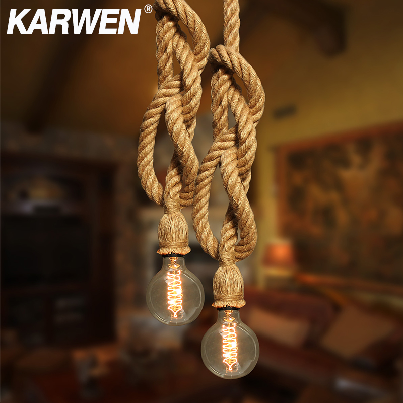 Vintage Hemp Rope Pendant Light E27 Base 1M 2M 3M Lamp Modern Hanging Loft Creative Pendant Light AC85-265V Double Single Head