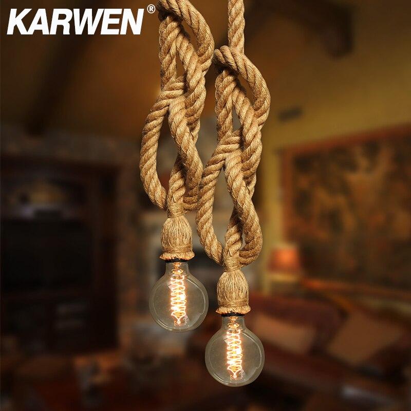 Vintage Hemp Rope Pendant Light E27 Base 1M 2M 3M Lamp Modern Hanging Loft Creative Pendant Light AC85-265V Double Single Head