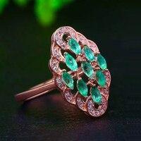 Из натуральной Изумрудное кольцо стерлингового серебра 925 драгоценный камень женщина мадам ювелирные кольца