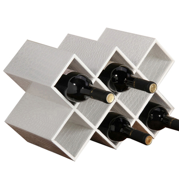 Creative Wine Rack Solid Wood PU Leather Grape Wine Holders Household Living Room Wine Bottle Cabinet Flexible Home Decoration