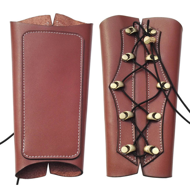 Archery Arm Guard Hunting Traditional Cow Leather Arm Restraint Protector Target Arm Guard Protection Shooting Archery Accessory