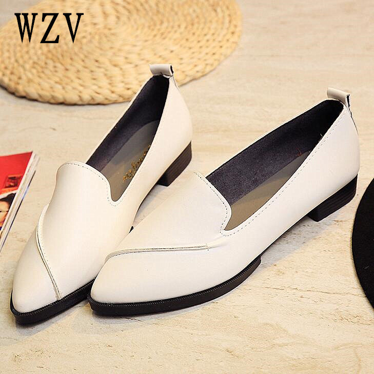 2018 Split Leather Oxford Flat Shoes For Women New Spring Slip-on pointed Toe College Casual Fashion Ladies Lazy Loafers brand fedimiro spring oxford shoes women patent leather pointed toe slip on flat loafers casual metal buckles ladies flats