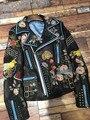 Широко Заклепки Осень Зима Настоящее Натуральной Кожи Куртка 2016 Цветочный Змея Вышивка Черный Пиджак Пальто Женщины Мотоциклетная Куртка