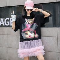 Summer short sleeved T shirt street fashion 2019 cartoon cat loose T shirt stitching fluffy mesh cake princess short sleeve