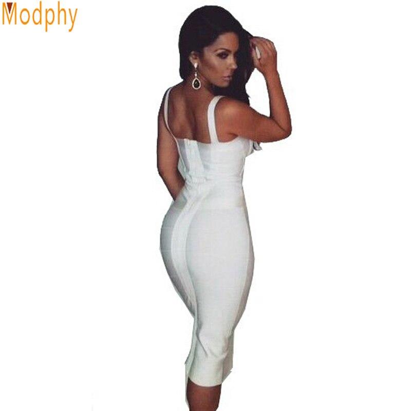 2017 new summer below knee bandage dress women sexy straps busty midi dress ladies night club