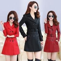 2018 Leather Coat women New Style Waist Separated Desigan Women Fur Collar Leather Jacket Women suede Coat Female coat plus Size