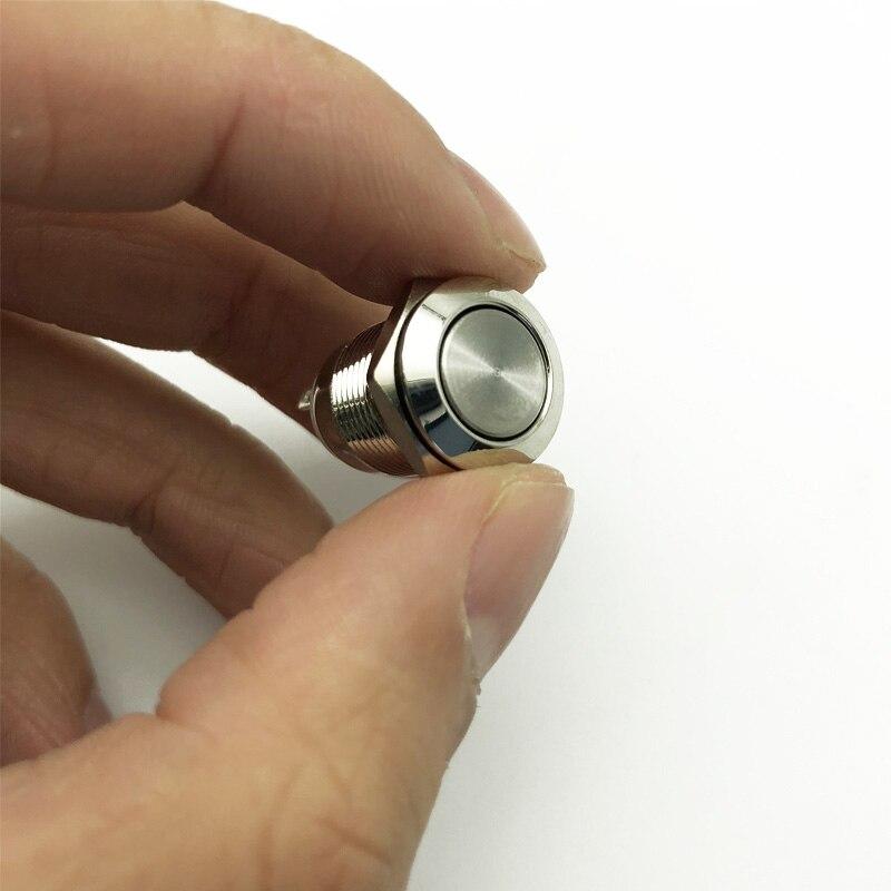 1 шт. 12 мм металлическая кнопка переключатель Блокировка с фиксацией/Самостоятельная моментальная Перезагрузка водонепроницаемый нажмите точку, плоская головка и высокая головка - Цвет: Flat Head