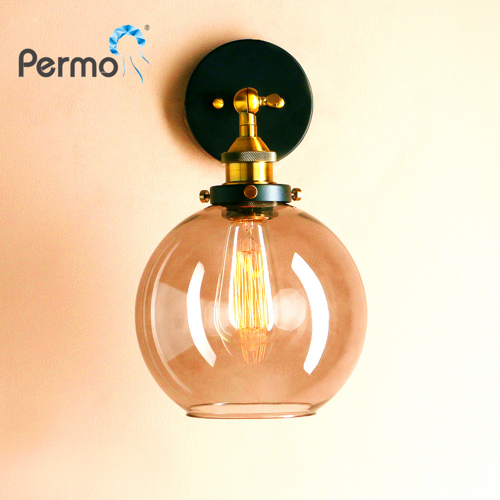 Permo Vintage Antique Amber Glass Wall Lamp Modern Hall Brass Sconce Wall Light Fixtures New Year