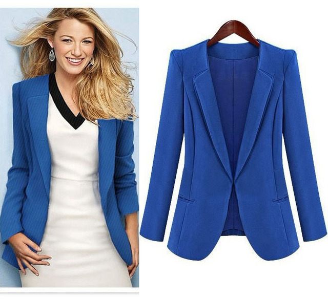 Spring Fall Trendy Clothes Women Business Suits Formal Office Work Wear Royal Blue Blazer Jackets
