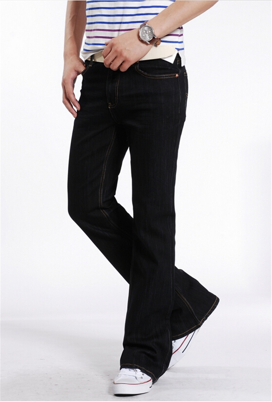 mens flared jeans boot cut leg flared elastic slim fit mid waist male designer classic denim. Black Bedroom Furniture Sets. Home Design Ideas