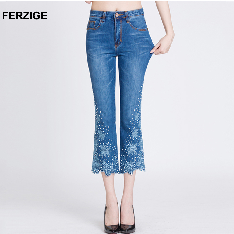 FERZIGE Women Jeans Embroidered Flares Bell Bottoms Stretch High Waist Slim Fit Rhinestones Casual Ladies Ankle Length Pants 36-in Jeans from Women's Clothing    1
