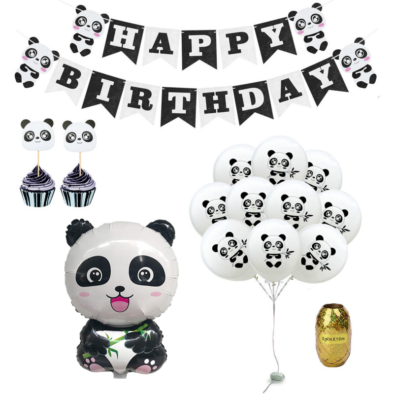 Panda Theme Party Decoration Balloons First Birthday Party Banners Happy Birthday Party Decoration For Kids Baby Shower Supplies