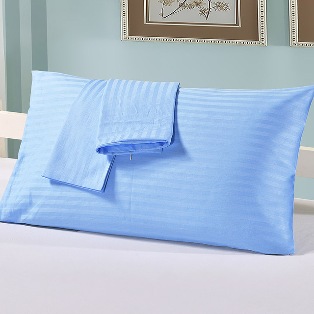 Home Bedding Pillowcases Striped Decorative Hotel Hospital White Gray Comfortable Sleep Cotton Pillows Cover 2 Pcs/Set US Size