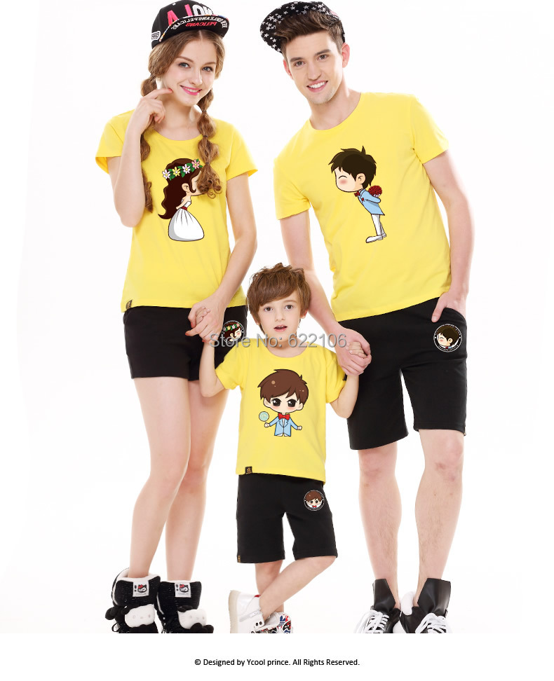 2015 Matching Father Mother Daughter Son Clothes Cartoon Family Look Family Matching Clothes Parent-child Outfit  Ma e Filha father–daughter incest