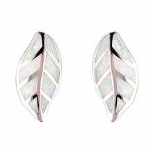 925 Sterling Silver Filled Big Leaves Blue/White Fire Opal Stud Earrings For Women Brincos 2018