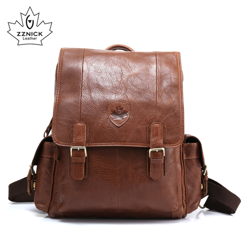 ZZNICK Men Backpacks 100 Genuine Leather Men s Travel Bag Fashion Man Backpack Casual Business Backpack