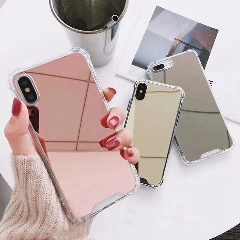 Mirror Phone Case For iphone 7 8 6s 6 plus X XR XS Max Cute Soft TPU Shockproof Cover For Samsung Note9 Note8 S8 S9 Plus Case(China)