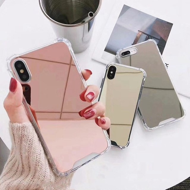 Mirror Phone Case For iphone 7 8 6s 6 plus X XR XS Max Cute Soft TPU Shockproof Cover For Samsung Note 9 8 S8 S9 S10E Plus Case