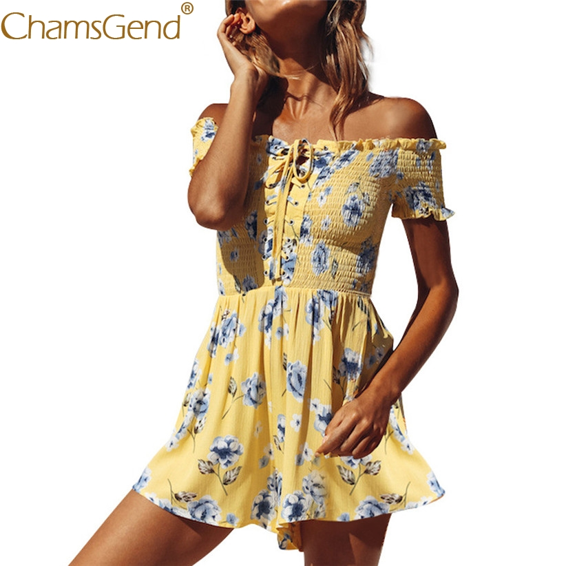 HOT SALE Women High Street Fashion Floral Mini Playsuit Off Shoulder Short Sleeve Tie Shorts Jumpsuit 80516 Free Shipping