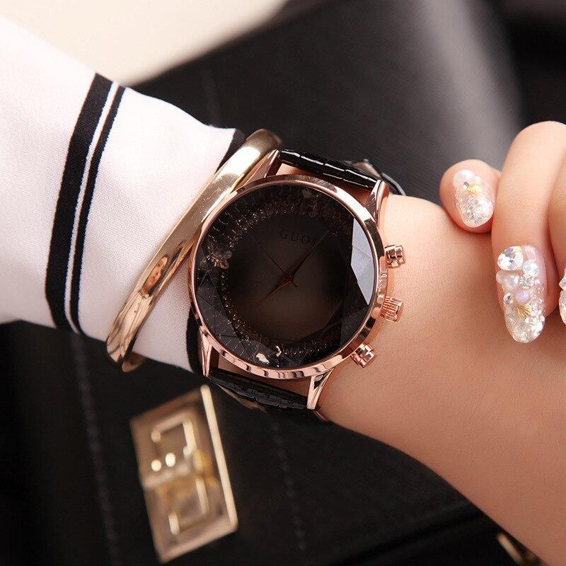 eab4145e0c9 GUOU Assistir Mulheres Requintado Top Luxo Diamante Senhoras Relógio de  Quartzo de Moda em Couro Relógio de Pulso Das Mulheres relógios feminino  relogio ...