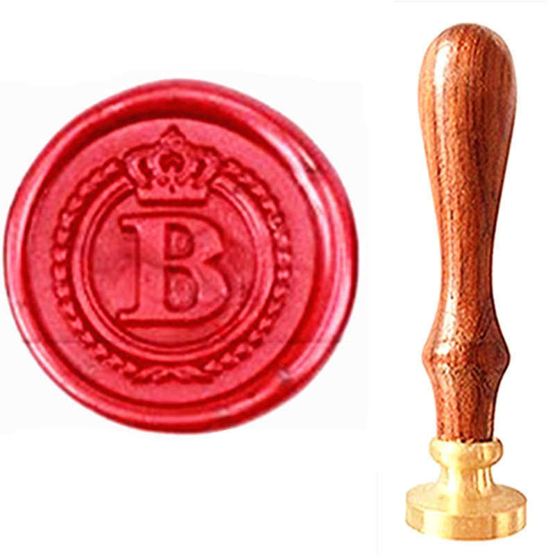 все цены на MDLG Vintage Alphabet Letter B Crown Wedding Invitations Gift Cards Wax Seal Stamp Stationary Sealing Wax Stamp Wood Handel Set онлайн