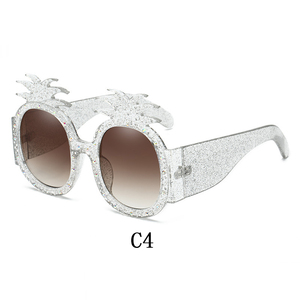 Image 4 - Linther 2019 mới thời trang ngộ nghĩnh Kỳ Dị Thiết kế kính mát cao cấp Kim Cương dứa Kính mát nữ miễn phí vận chuyển