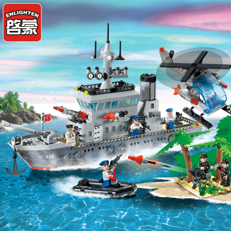 Enlighten 820 Military Series Toys Navy Frigate Ship Assembling Building Blocks Bricks Educational toys little white dragon assembling toys educational toys girl fantasy girls beach villa 423