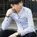 Spring men's new fashion stripes trend leisure lattice long sleeves Slim shirt (multi-color optional)TB722